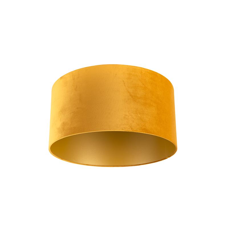 Velours lampenkap geel 50/50/25 met gouden binnenkant