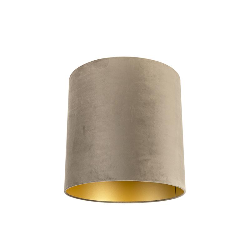 Velours lampenkap taupe 40/40/40 met gouden binnenkant