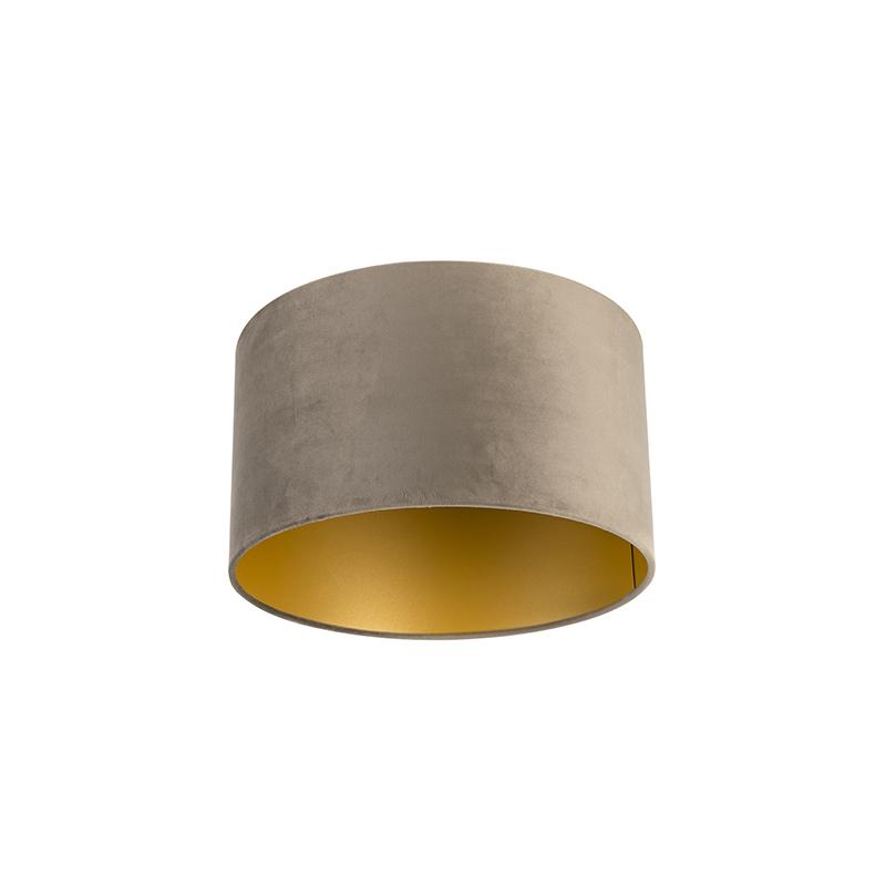 Velours lampenkap taupe 35/35/20 met gouden binnenkant