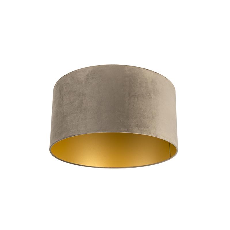 Lampenkap velours 50/50/25 taupe - goud