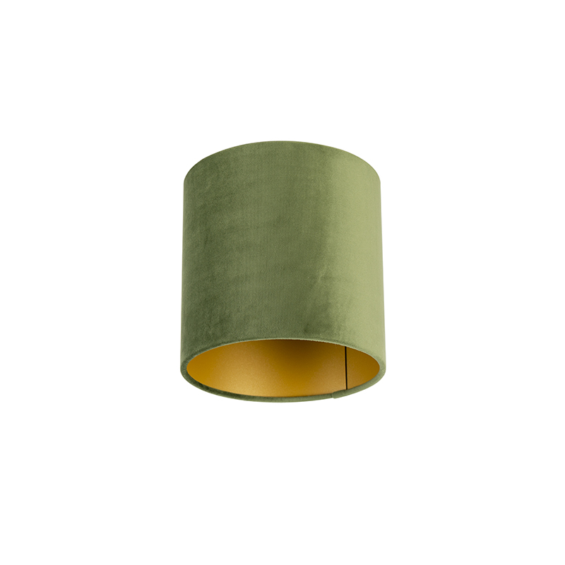 Lampenkap velours 20/20/20 groen - goud