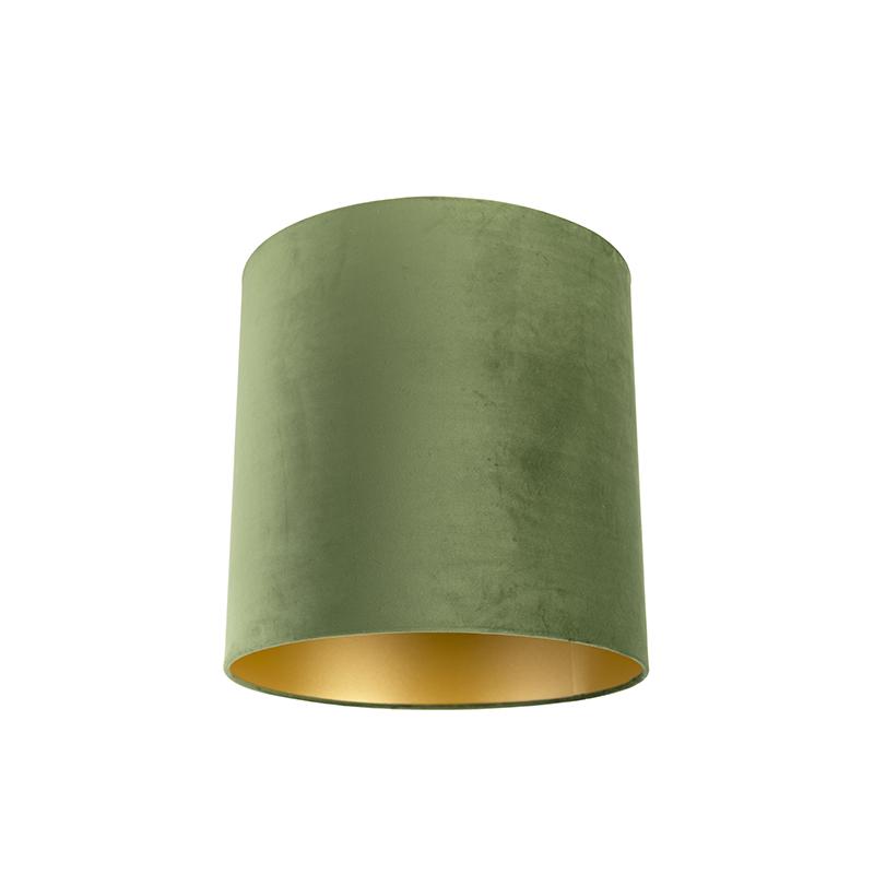 Lampenkap velours 40/40/40 groen - goud