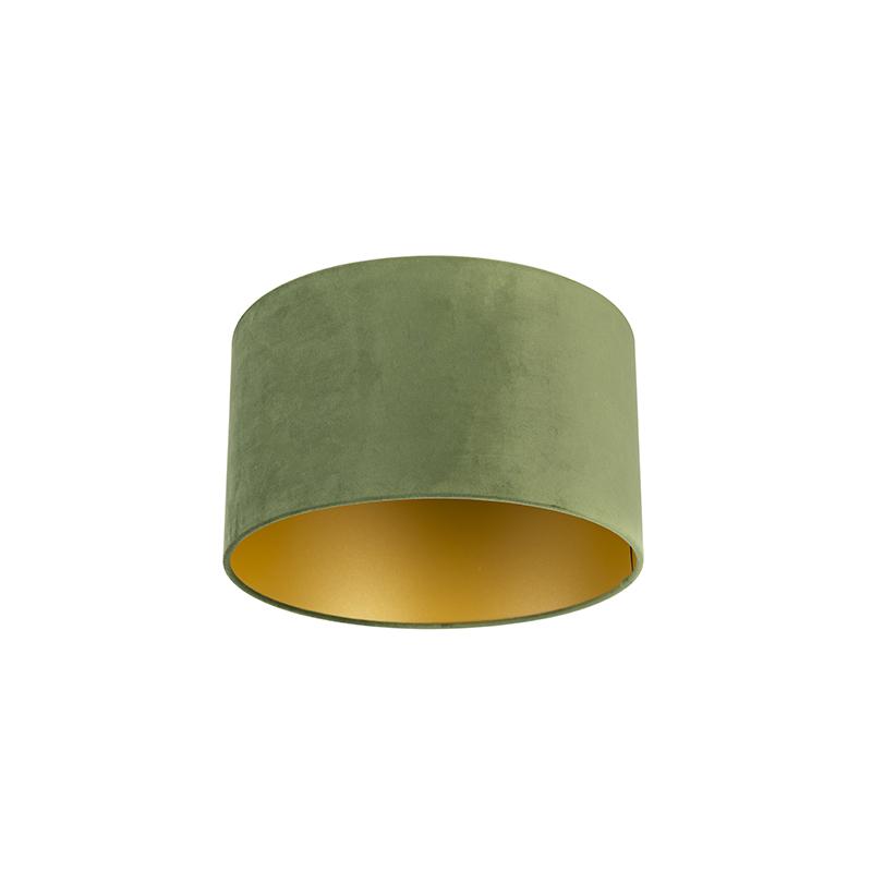 Velours lampenkap groen 35/35/20 met gouden binnenkant