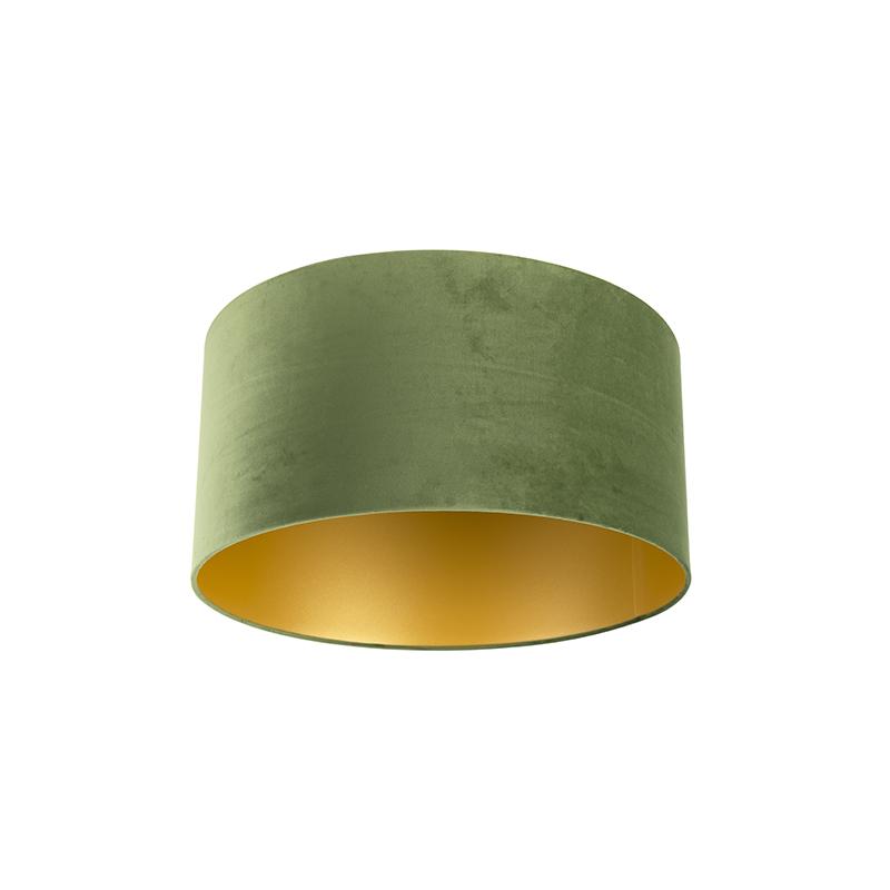 Lampenkap velours groen 50/50/25 met gouden binnenkant