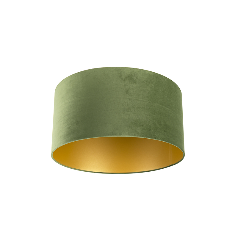 Lampenkap velours 50/50/25 groen - goud