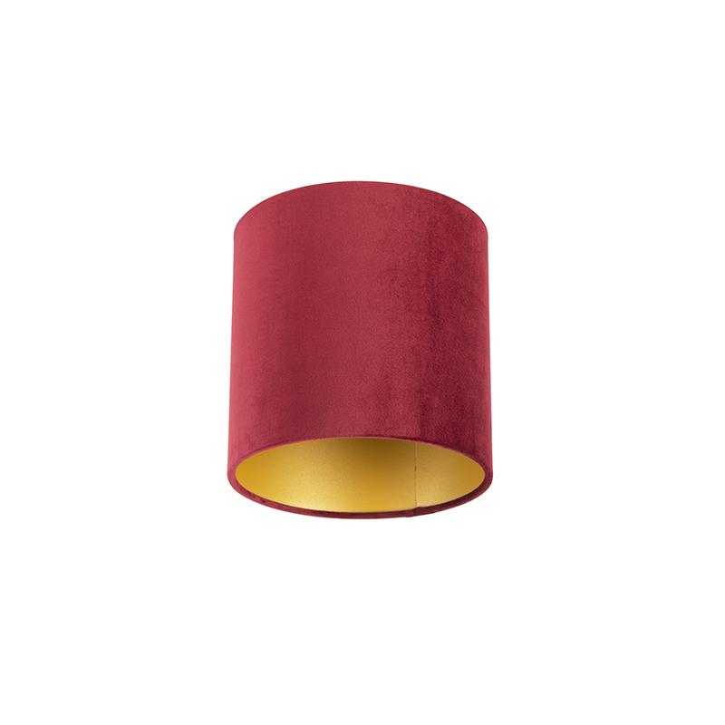 Lampenkap velours 20/20/20 rood - goud