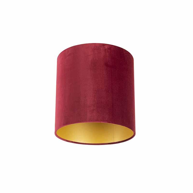 Lampenkap velours 25/25/25 rood - goud