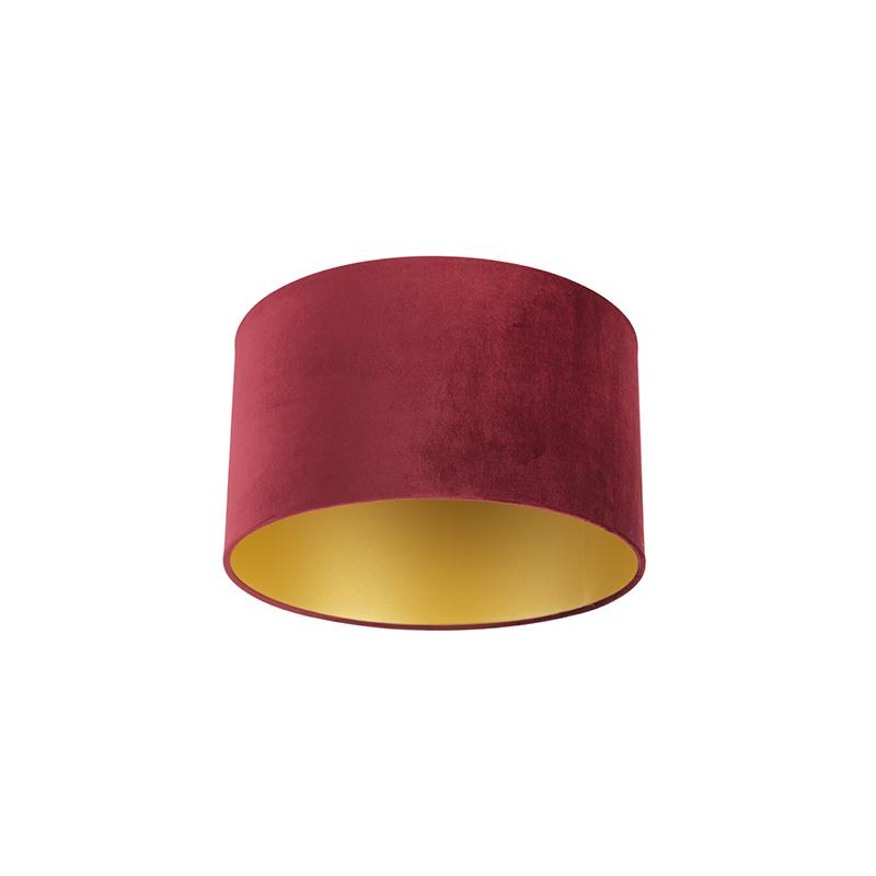 Lampenkap velours 35/35/20 rood - goud