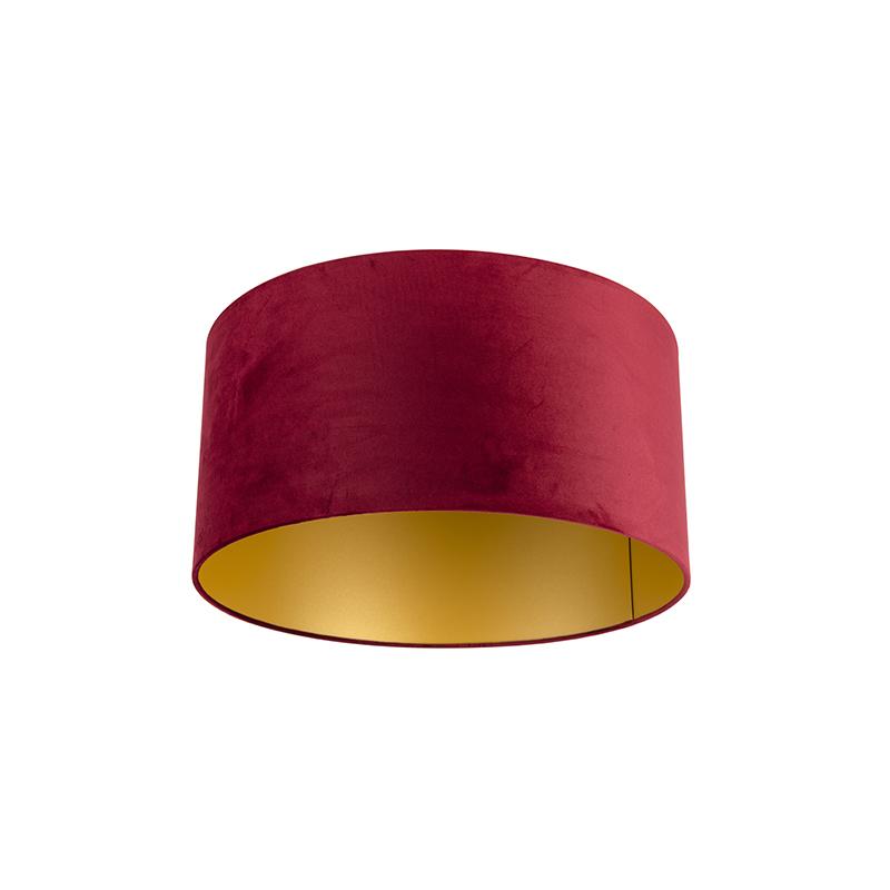 Velours lampenkap rood 50/50/25 met gouden binnenkant