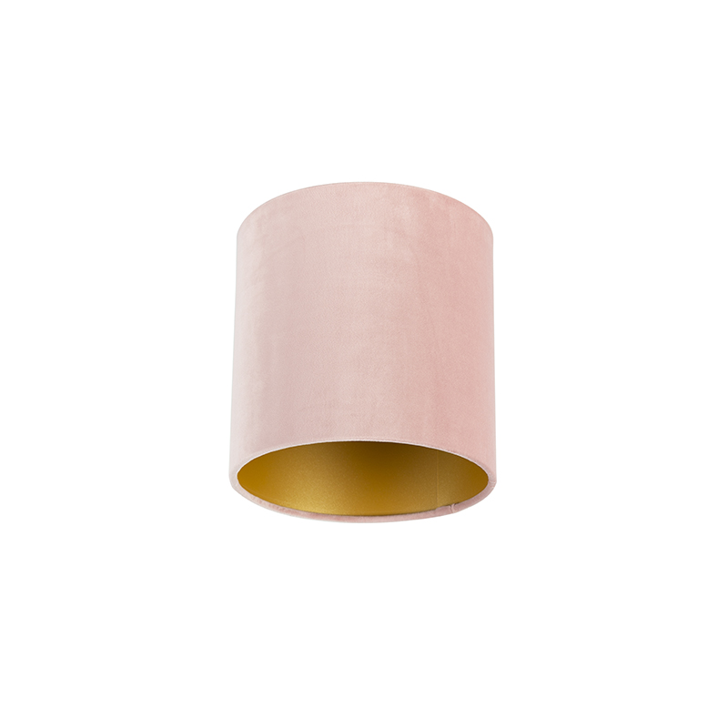 Velours lampenkap roze 20/20/20 met gouden binnenkant