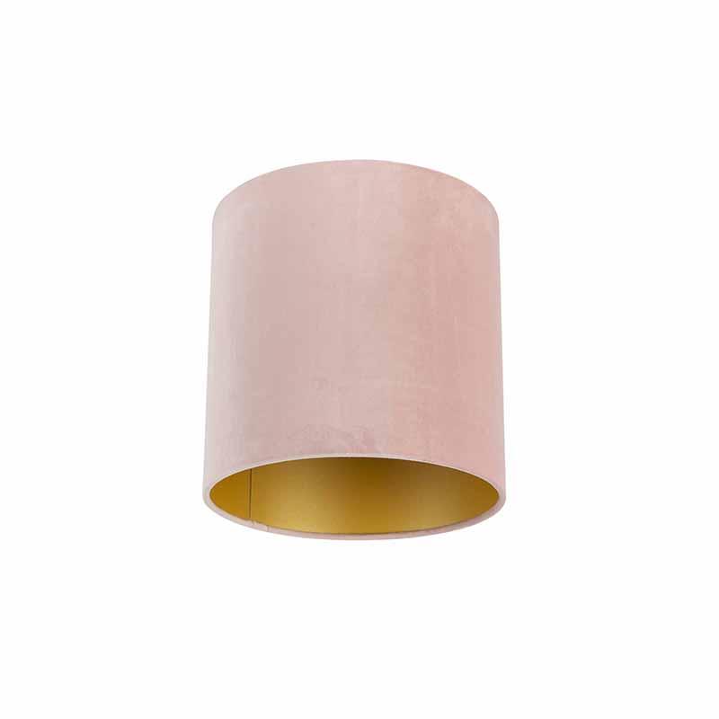 Velours lampenkap roze 25/25/25 met gouden binnenkant