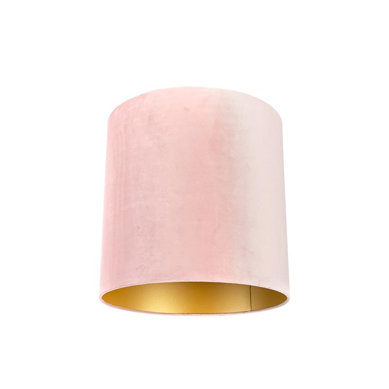 Velours lampenkap roze 40/40/40 met gouden binnenkant