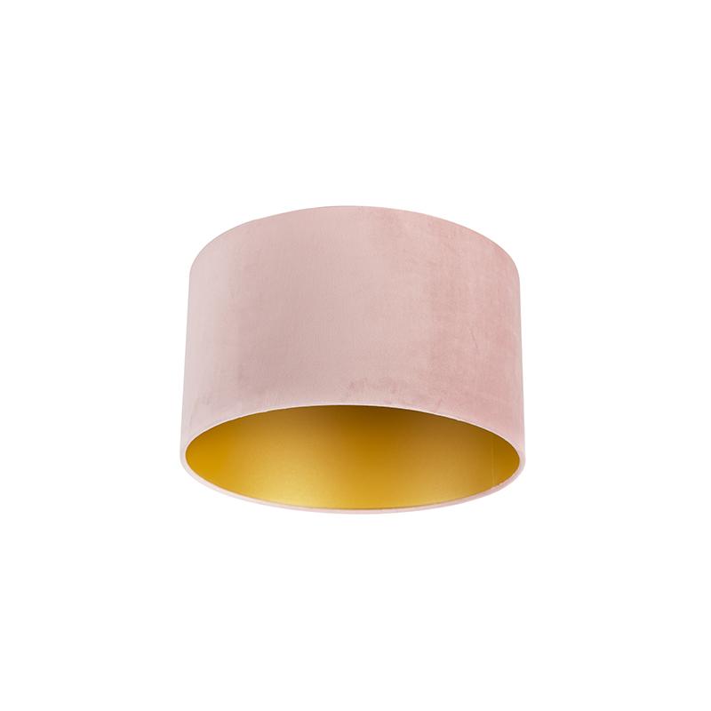 Lampenkap velours 35/35/20 oud roze - goud