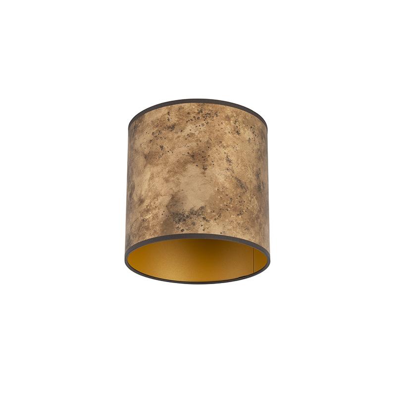 Lampenkap brons 20/20/20 met gouden binnenkant
