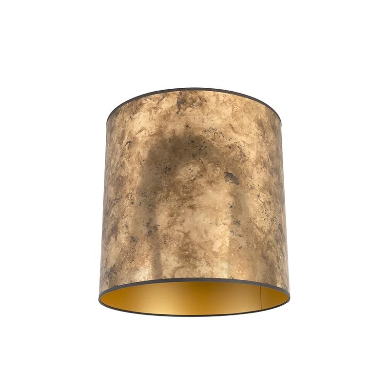 Lampenkap brons 40/40/40 met gouden binnenkant