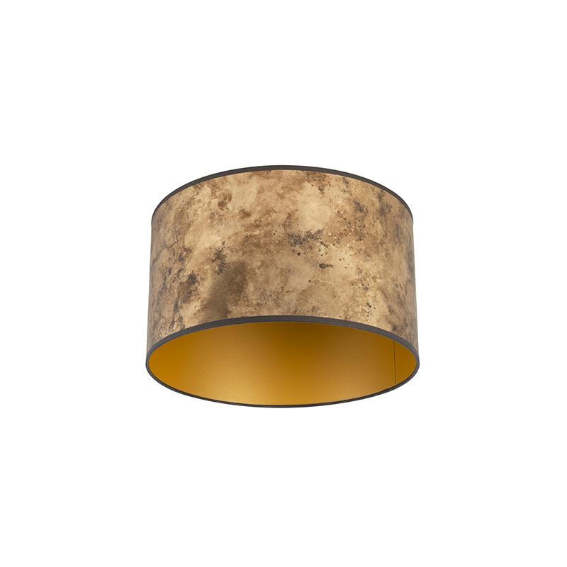 Lampenkap brons 35/35/20 met gouden binnenkant