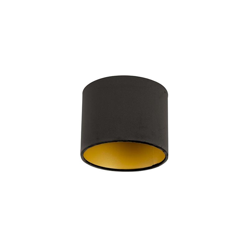 Velours lampenkap zwart 18/18/14 met gouden binnenkant