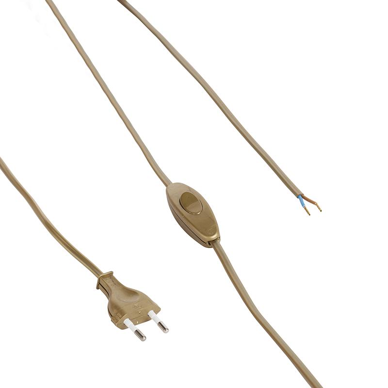 Przewód podłączeniowy 80-120cm z włącznikiem i wtyczką złoty