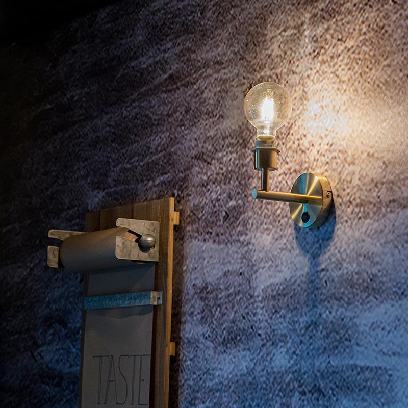 Strakke wandlamp goud 1-lichts met schakelaar - Combi