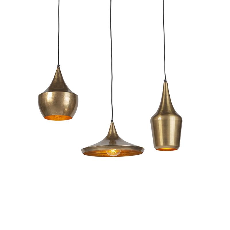 Set van 3 vintage ronde hanglampen goud - Duke