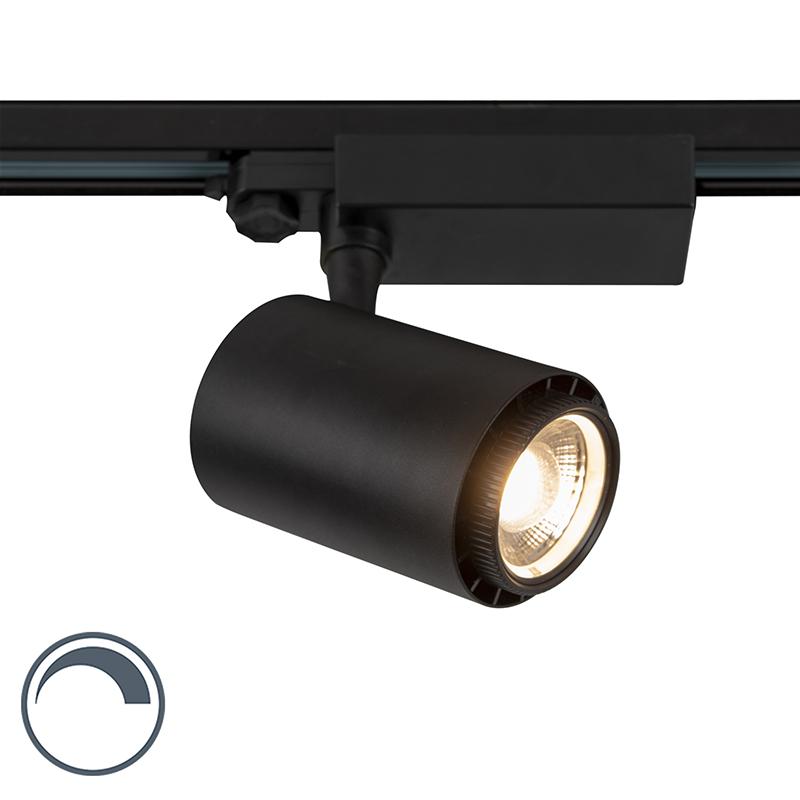 Moderne dimbare 3-fase railspot zwart met verstelbare lichtbundel en Kelvin 35W - Jeana