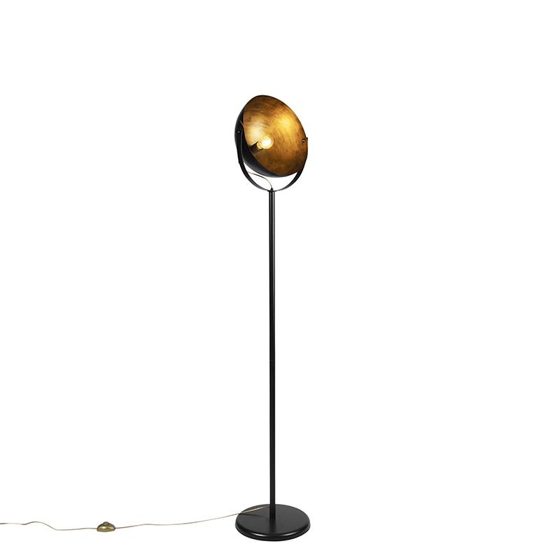 Industrialna lampa podłogowa czarna ze złotym wnętrzem 35cm - Magna