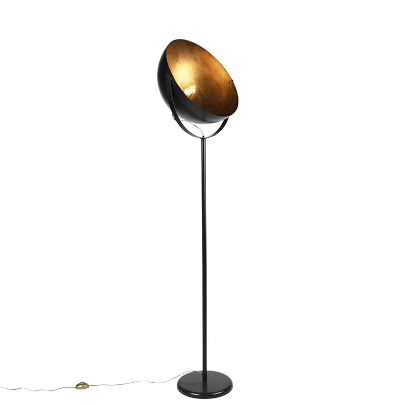 Industrialna lampa podłogowa czarna ze złotym wnętrzem 50cm - Magna