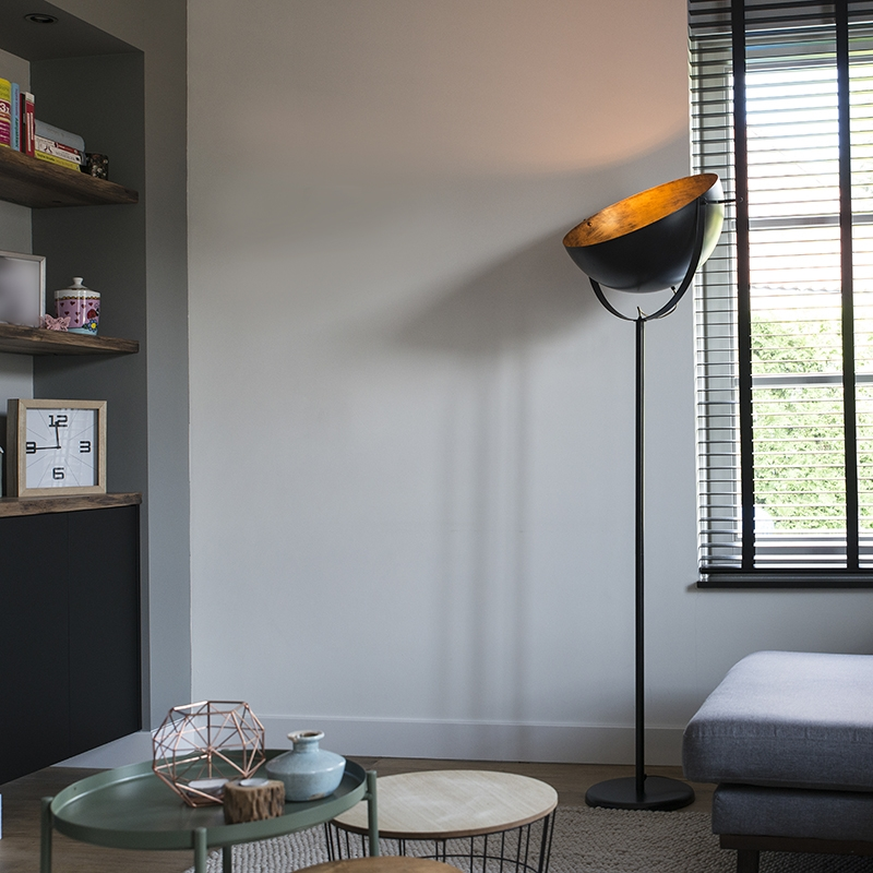 Moderne ronde vloerlamp zwart met goud 50cm - Magna