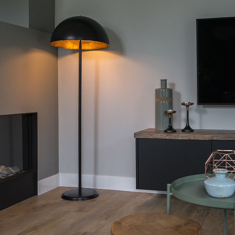 Moderne ronde vloerlamp zwart met goud - Magna