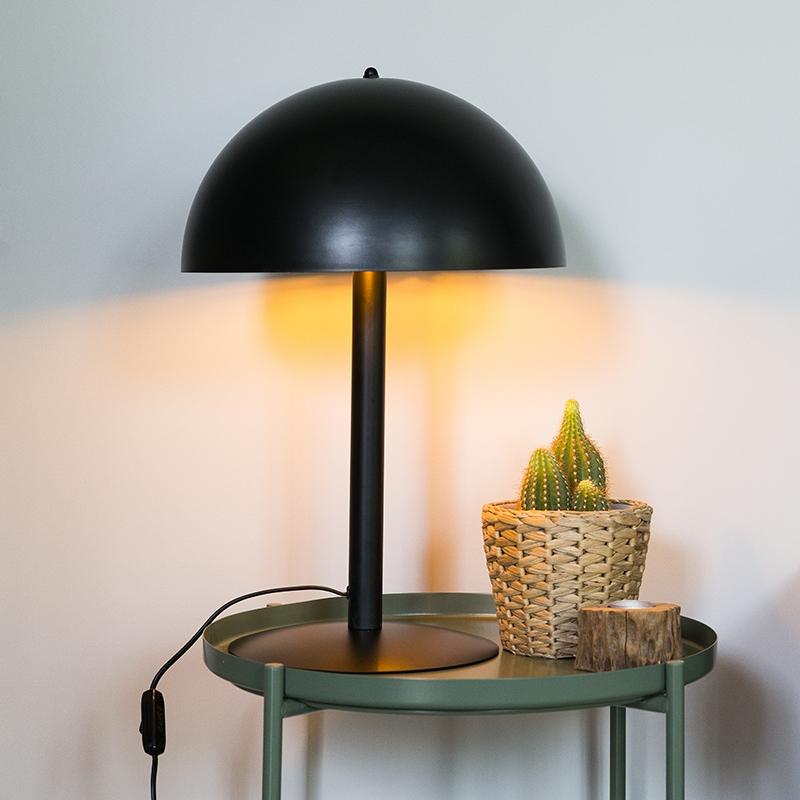 Moderne ronde tafellamp zwart met goud - Magna