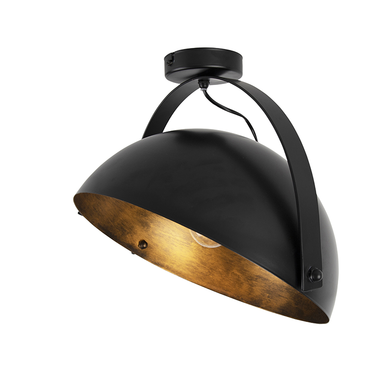 Industriele plafondlamp zwart met goud kantelbaar - Magna