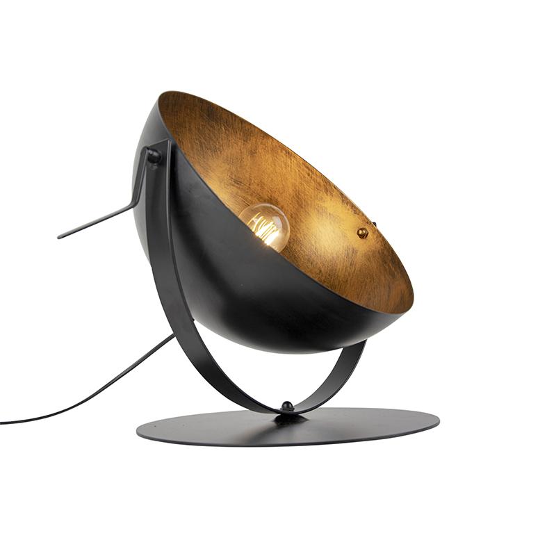 Industrialna lampa stołowa czarna ze złotym wnętrzem - Magna