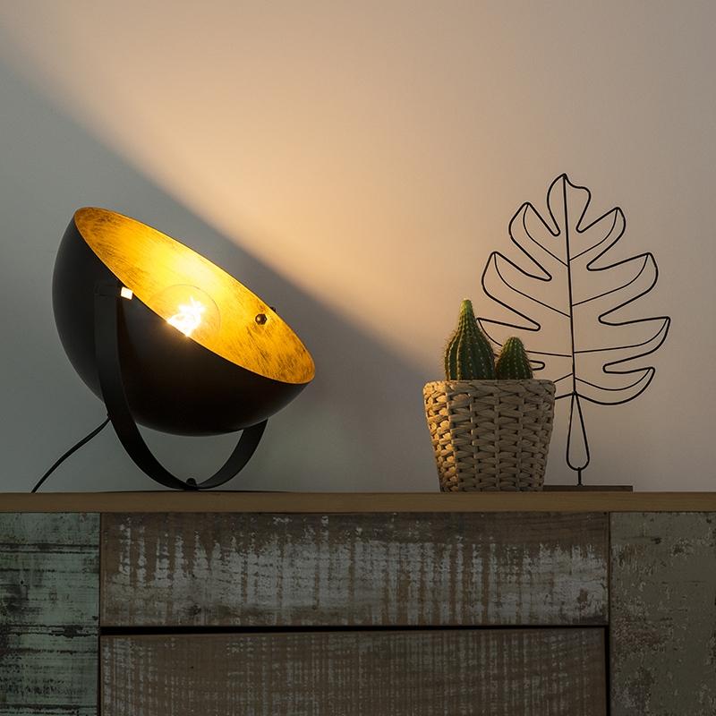 Moderne ronde tafellamp draaibaar zwart met goud - Magna