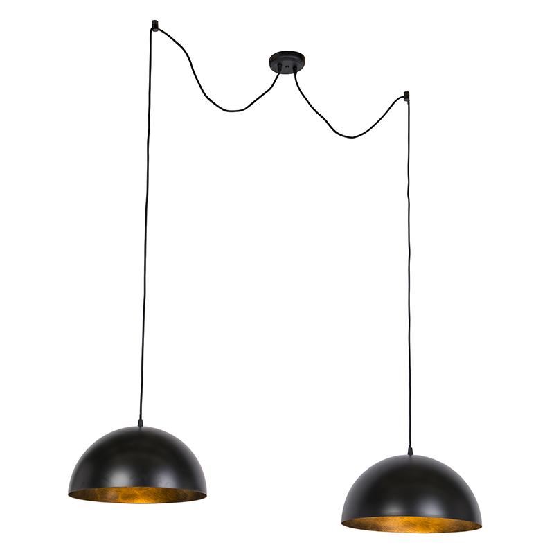 Moderne Ronde Hanglamp Zwart Met Goud 2-lichts - Magna