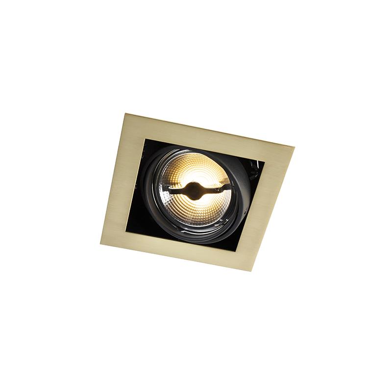 Art deco vierkante inbouwspot messing 1-lichts AR111 - Oneon