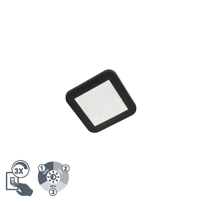 Moderne vierkante plafondlamp 17cm zwart IP44 3-staps dimbaar - Steve