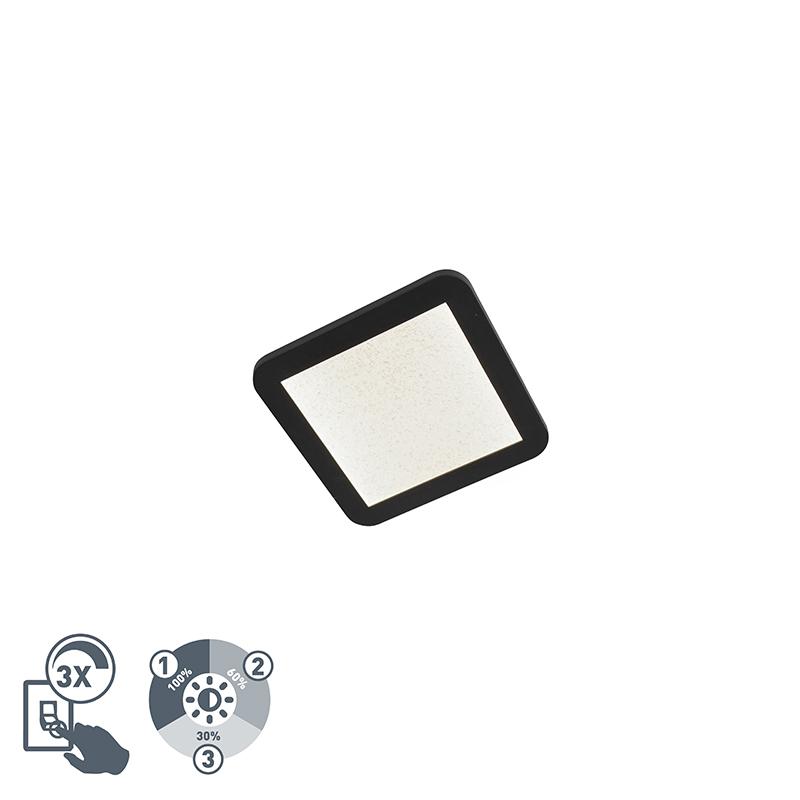 Moderne Vierkante Plafondlamp 22.5cm Zwart Ip44 3-staps Dimbaar - Steve