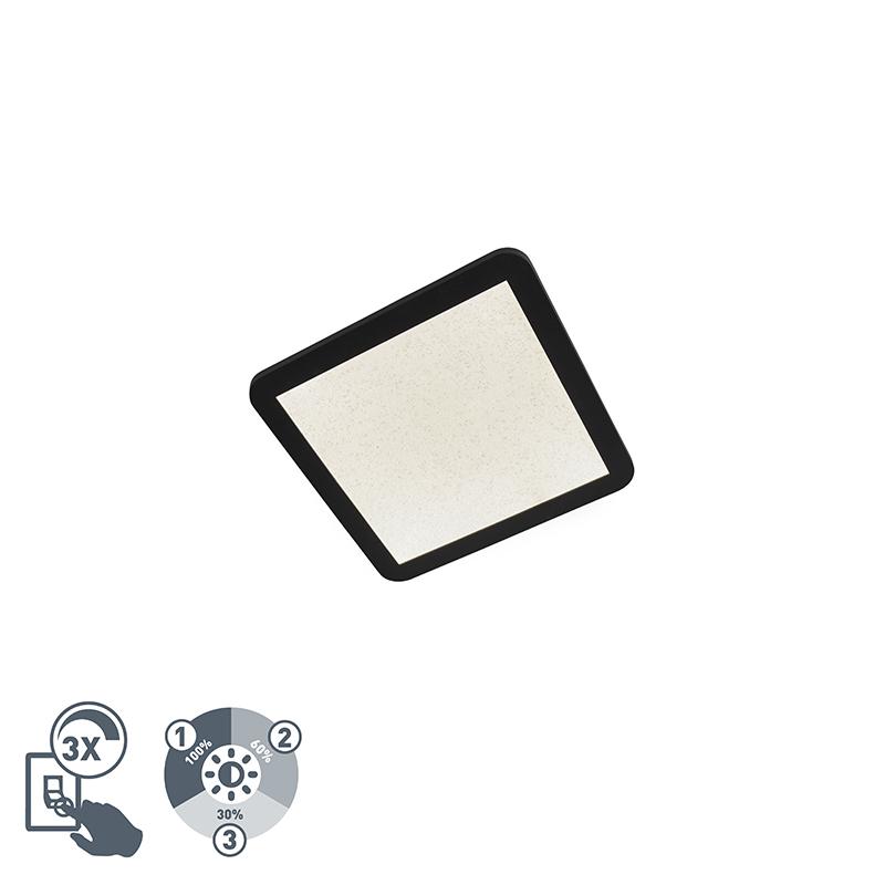 Moderne Plafondlamp 30cm Zwart Ip44 3-staps Dimbaar Incl. Led - Steve