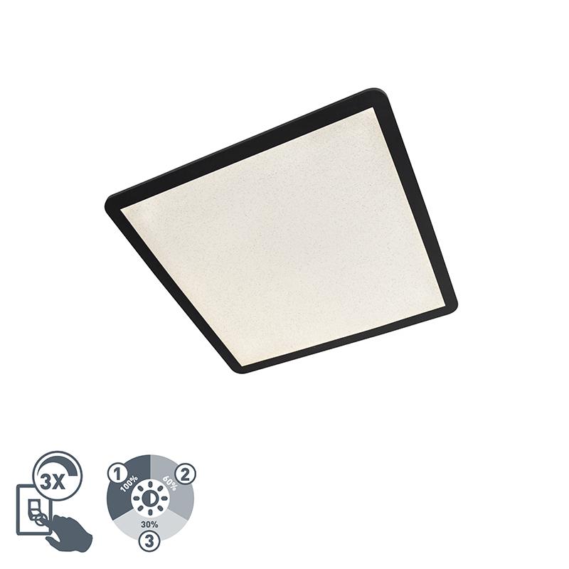 Moderne vierkante plafondlamp 60cm zwart IP44 3-staps dimbaar - Steve