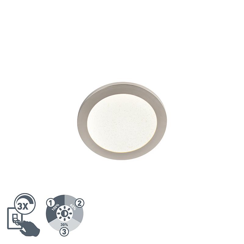 Moderne Plafondlamp 22.5cm Staal Ip44 3-staps Dimbaar Incl. Led - Steve