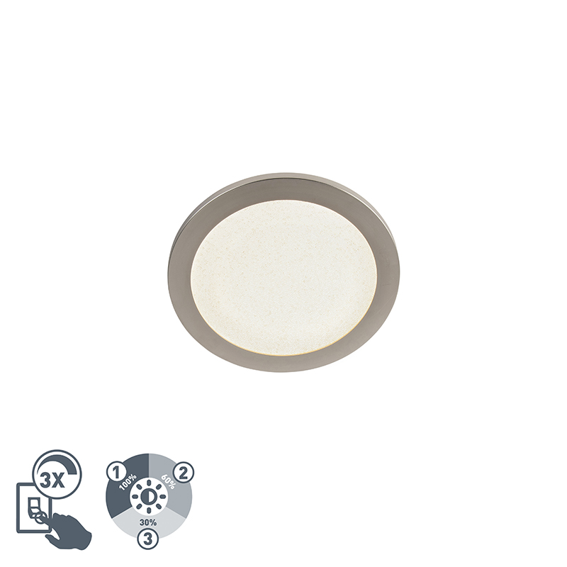 Moderne ronde plafondlamp 26cm staal IP44 3-staps dimbaar - Steve