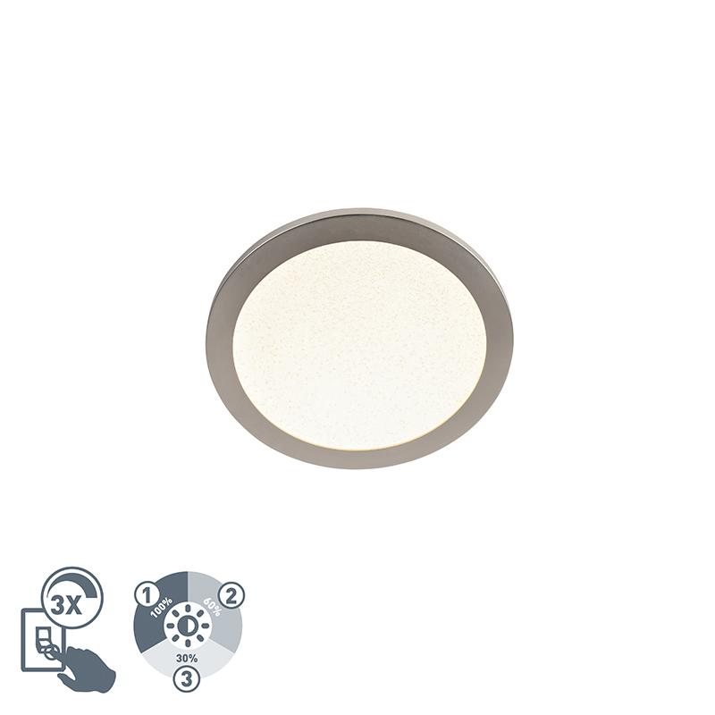 Moderne ronde plafondlamp 30cm staal IP44 3-staps dimbaar - Steve