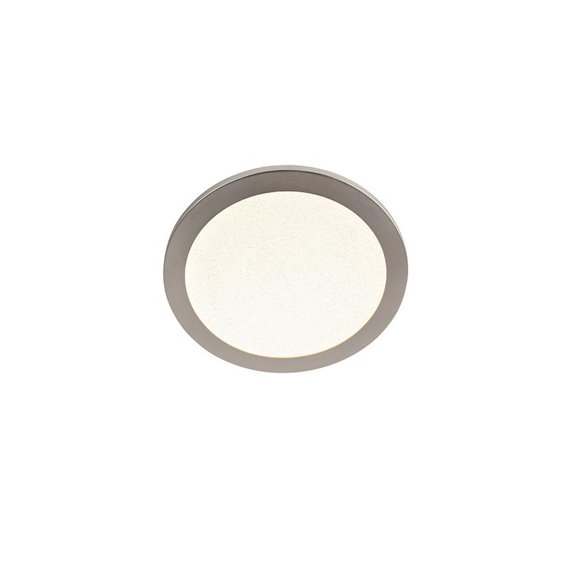 Plafondlamp staal 30 cm incl. LED 3-staps dimbaar IP44 - Steve