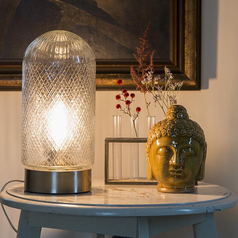 Vintage tafellamp cilindervormig bewerkt glas met staal - Bardo