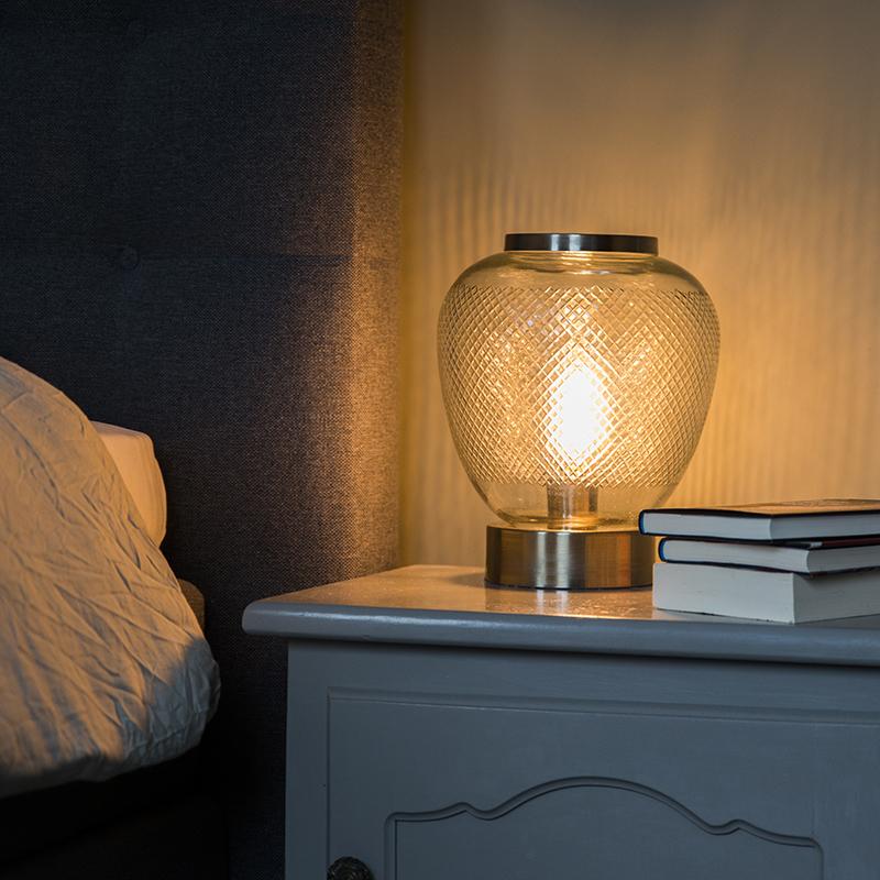 Vintage tafellamp bolvormig bewerkt glas met staal- Bardo