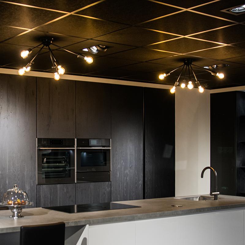Moderne plafondlamp zwart 6-lichts - Sputnik