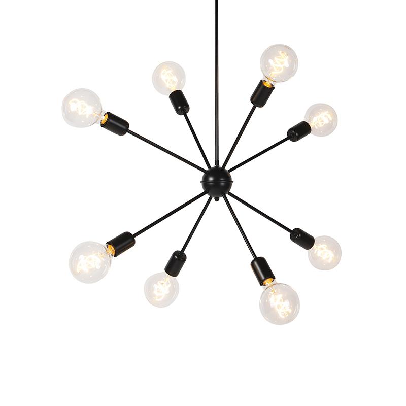 Moderne hanglamp zwart 8-lichts met schuifstang - Sputnik