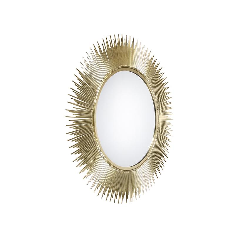 Art deco ronde spiegel 62cm goud - Aton