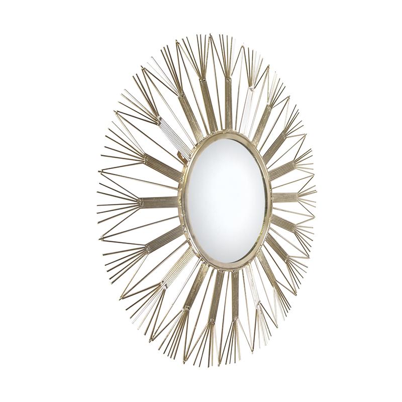 Art deco ronde spiegel 75cm goud - Emesa