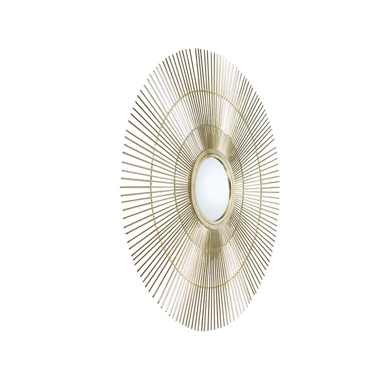 Art deco ronde spiegel 80cm goud - Surya